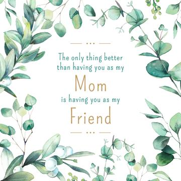 Mother's Day Quote Green Leaves Frame | Instagram Post Template