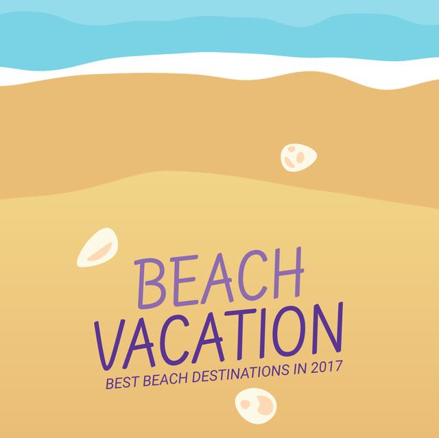 Modèle de visuel Turquoise Sea Wave at Sandy Beach - Animated Post