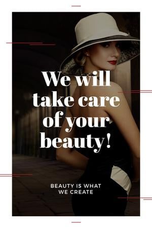 Beauty Services Ad with Fashionable Woman Tumblr Modelo de Design