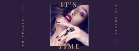 Plantilla de diseño de Attractive Woman with Bright Purple Makeup Facebook cover