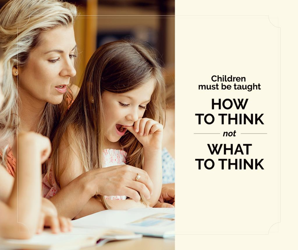 Child Education Quote Mother with Daughter Reading | Facebook Post Template — Maak een ontwerp