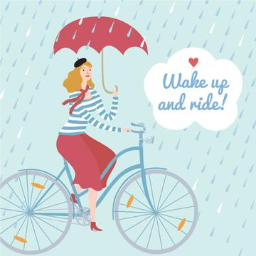 Woman Riding Bike with Umbrella Under Rain