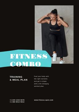 Fitness Program promotion with Woman doing crunches