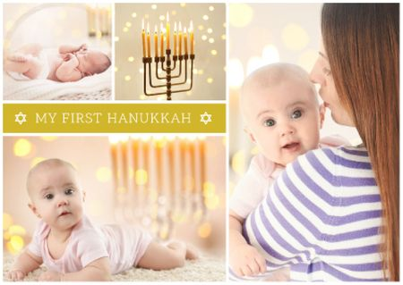 Plantilla de diseño de Mother with baby celebrating hanukkah Postcard