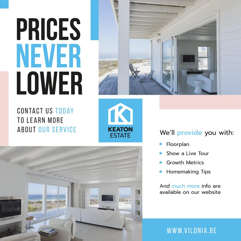 Real Estate Property Offer White House | Instagram Post Template — Créer un visuel