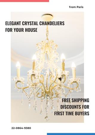 Template di design Elegant crystal Chandeliers Shop Poster