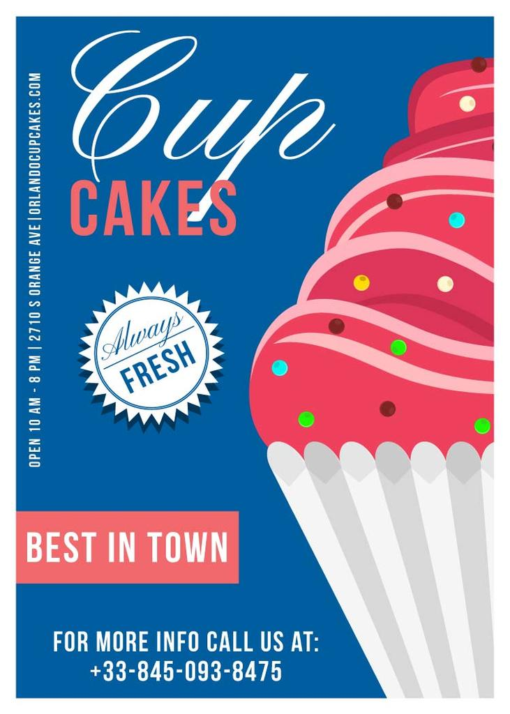 Cupcakes Cafe Ad in Blue | Flyer Template — Modelo de projeto
