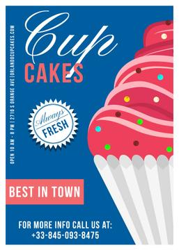 Cupcakes Cafe Ad in Blue | Flyer Template