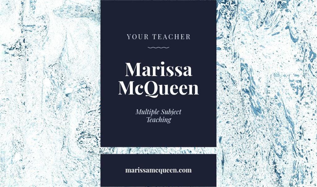 Plantilla de diseño de Teacher Services Ad with Marble Texture in Blue Business card