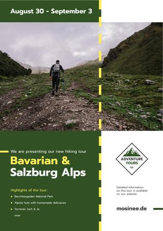Szablon projektu Hiking Tour Offer with Man Walking in Mountains Poster
