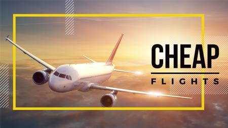Cheap flights advertisement with Plane in Sky Youtube Modelo de Design