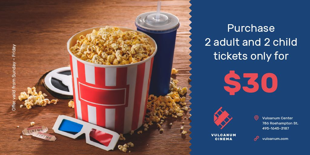 Cinema Offer Popcorn and 3D Glasses — Створити дизайн