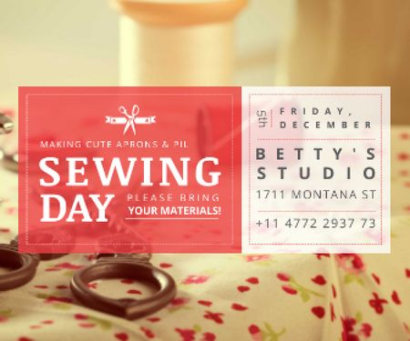 Ontwerpsjabloon van Large Rectangle van Sewing day event