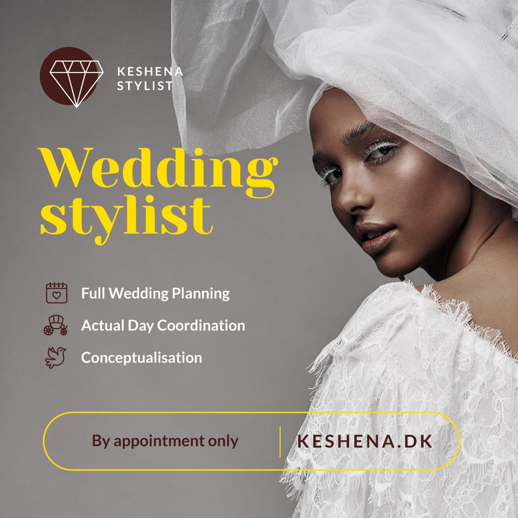 Wedding Services Promotion Woman in White Dress — Створити дизайн