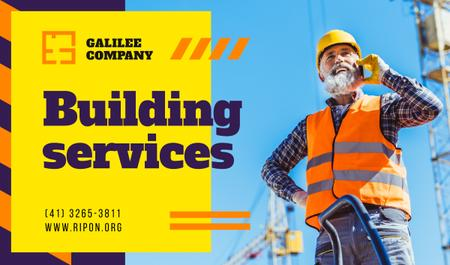 Plantilla de diseño de Building Services Worker on Construction Site Business card