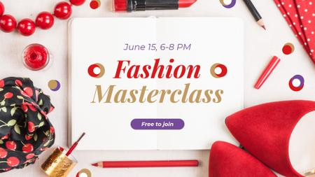 Fashion Masterclass Ad with Red Accessories FB event cover Modelo de Design
