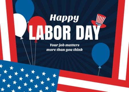 Template di design USA Labor Day celebration Postcard