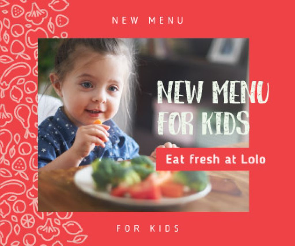 Kids' Menu Girl Enjoying Her Meal Large Rectangle Design Template