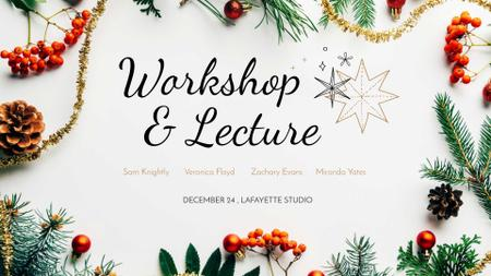 Plantilla de diseño de Pine and berries for winter decorations Workshop FB event cover