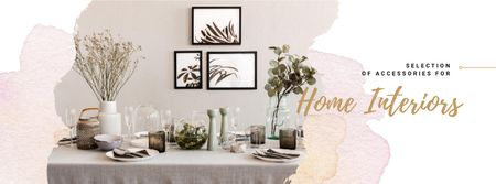 Festive formal dinner Table Setting Facebook cover Modelo de Design