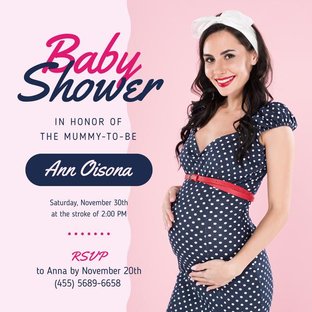 Baby Shower Invitation Happy Pregnant Woman Instagram – шаблон для дизайну