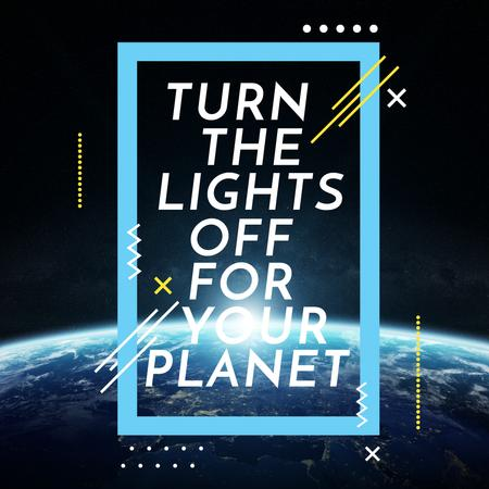 Earth hour with Planet in Space Instagramデザインテンプレート
