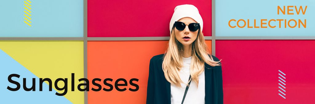 Sunglasses Ad Beautiful Girl on Bright Wall — Créer un visuel