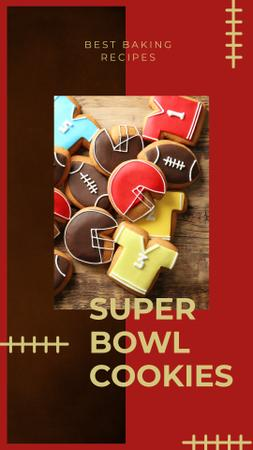 Ontwerpsjabloon van Instagram Story van Cookies with American football attributes