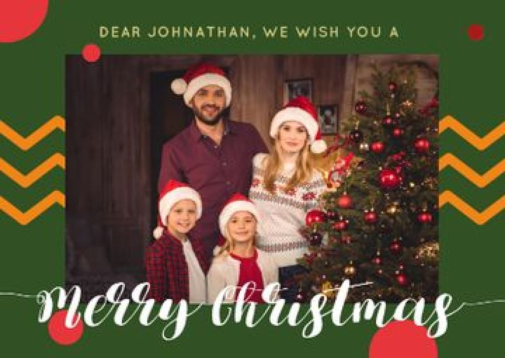 Merry Christmas Greeting with Family by Fir Tree — ein Design erstellen