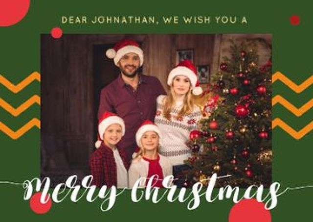 Merry Christmas Greeting with Family by Fir Tree Postcard Modelo de Design