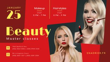Beauty Courses Beautician Applying Makeup | Facebook Event Cover Template
