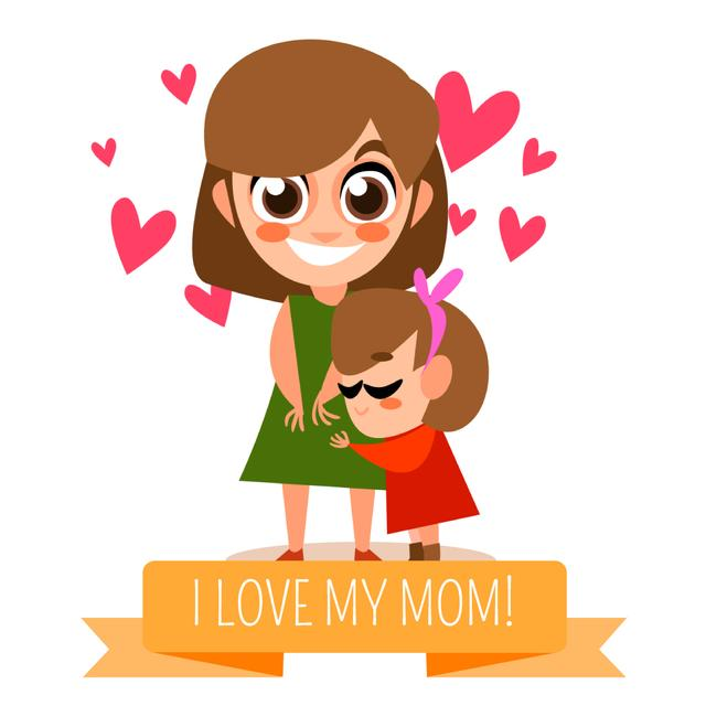 Designvorlage Mother's Day with Daughter hugging Mom für Animated Post