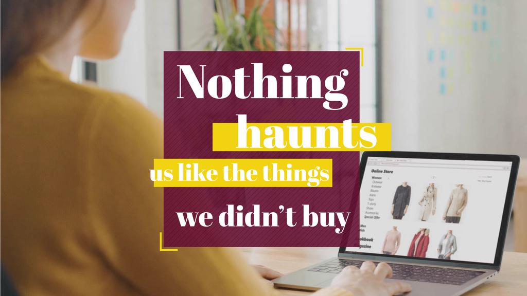 Consumerism Quote Woman Shopping Online — Maak een ontwerp