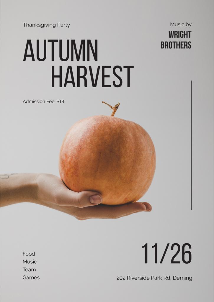 Hand holding Thanksgiving pumpkin — Modelo de projeto