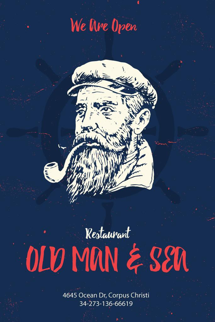 Old man and sea restaurant poster — Créer un visuel