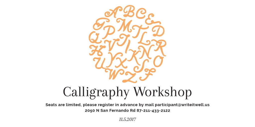 Template di design Calligraphy Workshop Announcement Letters on White Image