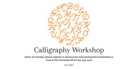 Calligraphy Workshop Announcement Letters on White Image Tasarım Şablonu