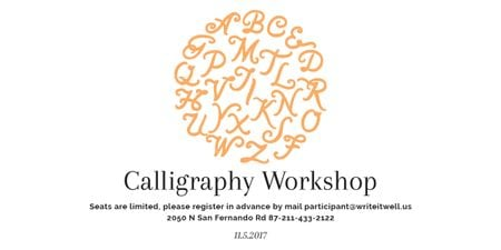 Calligraphy Workshop Announcement Letters on White Image Modelo de Design
