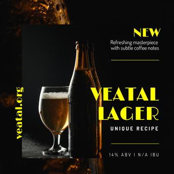 Beer Offer Lager in Glass and Bottle | Instagram Ad Template