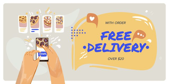 Pizza Delivery services deal Twitter Design Template