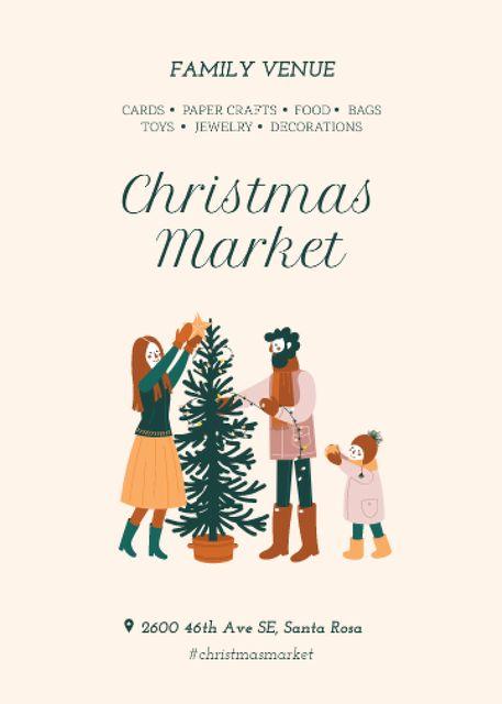 Ontwerpsjabloon van Flayer van Christmas Market Invitation Family Decorating Tree