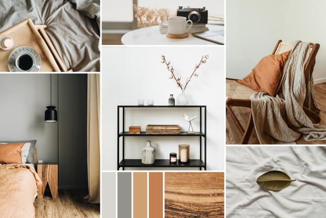 Modern interior in natural colors Mood Board – шаблон для дизайна