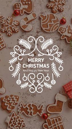 Plantilla de diseño de Christmas Greeting Gingerbread Cookies Instagram Video Story