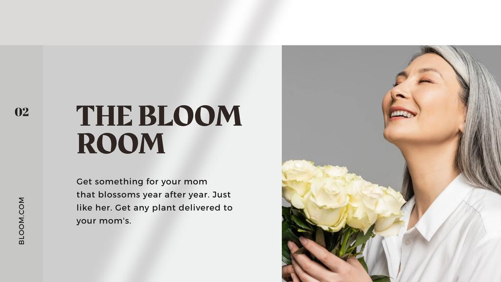 Flowers Delivery Offer on Mother's Day with smiling Mom — Create a Design