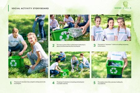 Volunteers collection Garbage Storyboardデザインテンプレート