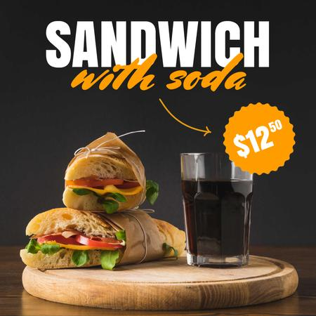 Plantilla de diseño de Fast Food Offer with Sandwiches Animated Post