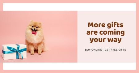 Gift Offer with Cute fluffy Puppy Facebook AD Modelo de Design