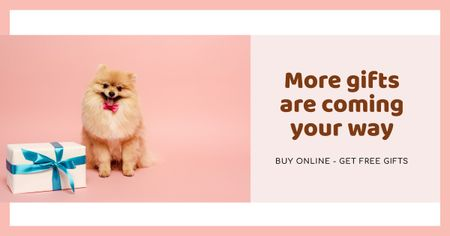 Template di design Gift Offer with Cute fluffy Puppy Facebook AD