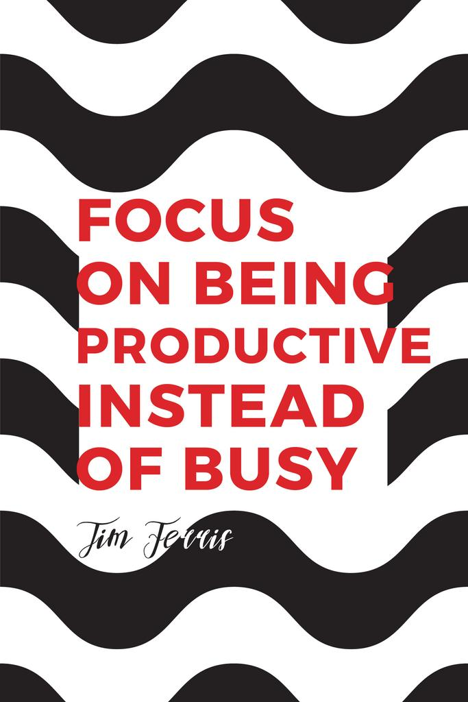 Productivity Quote on Waves in Black and White | Pinterest Template — Créer un visuel