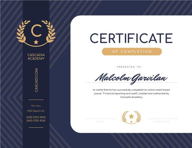 Ontwerpsjabloon van Certificate van Financial Educational Program Completion in blue